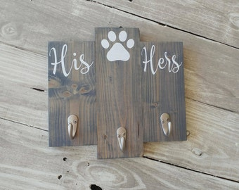 Key and dog leash holder, entryway key hook, his hers and dog key holder, wood key holder for wall, housewarming gift, key and leash holder