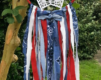 Americana Decor - Americana Wall Decor - Western Decor - Red White Blue - Stars and Stripes - Recycled Jeans - Shabby Chic - Country Chic