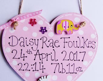Handmade Personalised Heart Baby Plaque Sign New Baby Boy Girl Pink Blue Birth Details Nursery Door Hanging Keepsake Gift