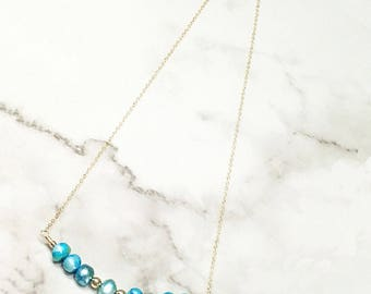 14K Gold-filled Chain Necklace Handmade With Blue Freshwater Pearls and Gold-filled Balls