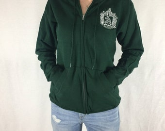 Hogwarts House Zip-Up Hoodies Slytherin Hufflepuff Ravenclaw Gryffindor Harry Potter Team Sweatshirt Cosplay Custom Embroidery Unisex Snape