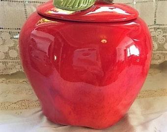 Vintage rich red apple cookie jar