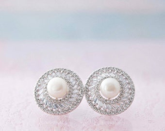 Wedding Pearl Earrings Wedding Pearl Stud Earrings Bridal Round Earrings Pearl Rhinestone Earrings Pearl Zirconia Earrings Wedding Jewelry