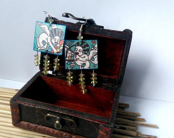 Earrings with angels and beads