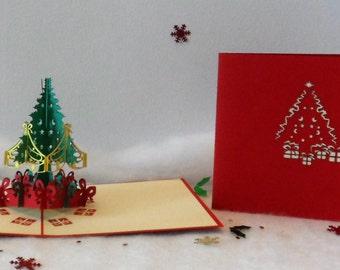 Christmas Tree and Presents Pop up Card-Christmas-(sku413)