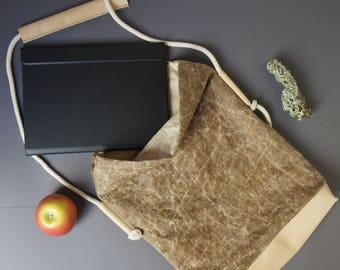 Shoulder bag, water repellent canvas bag, travel bag, hand made Oilskin and leather bag, Tablet PC Bag, Kindle bag