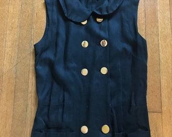 1950's Vintage Black Dress with Gold Buttons