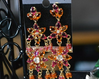 Pink and Orange Stoned dangle earrings| NOS Earrings| Pierced