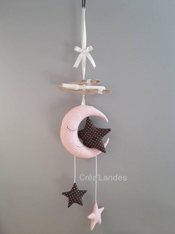Mobile enfant bébé bois flotté lune étoile décoration chambre