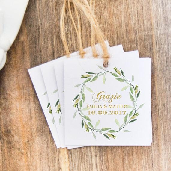 Top Etichette Nomi per Confetti Etichette Grazie Matrimonio TD79
