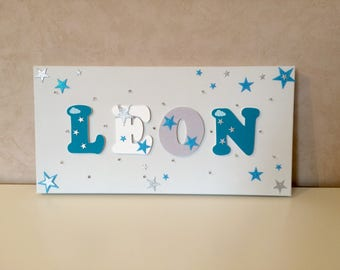 Light canvas - wood name on canvas - child table - child sower star decoration