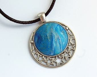Necklace with imitation lapis lazuli blue and gold night starry Van Gogh inspiration for women