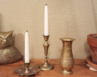 Vintage etched brass collection.  Candleholders & vase.  Bohemian vintage brass.