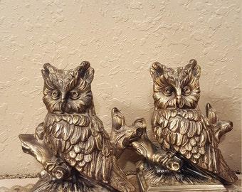Vintage Cast Metal Owl Book Ends. 1970u0027s Metal Owl Book Ends. Retro Owl  Office