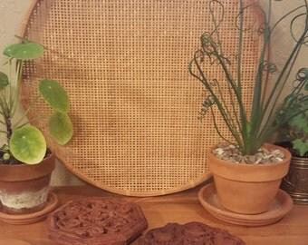 Vintage carved wood trivet pair, India.  retro kitchen trivets, planter trivets