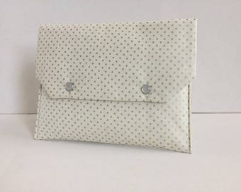 Fabric pocket flap, ecru dots silvered inside plastic lined ecru silver stars