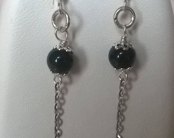 Earrings in 925 sterling silver and black onyx