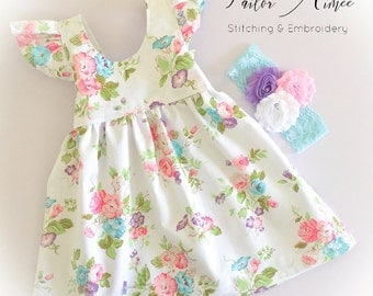 Baby girl dress, Newborn, Toddler, Cute, Floral, White, Flutter