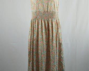 Vintage 1970s Jerell of Texas Pastel Prairie Style Ruffle Sleeveless Dress