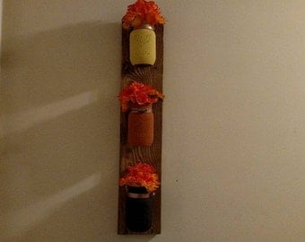 Fall Wall Sconce - Mason Jar Wall Sconce - 3 Jar Wall Decor - Housewarming - Thanksgiving - Wall Hangings