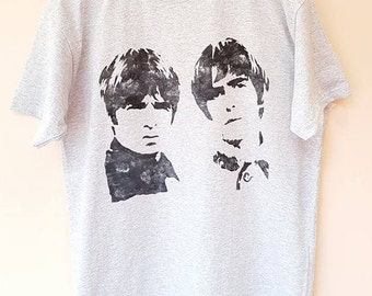 Hand-Painted Oasis Liam and Noel Gallagher Grey Monotone T-Shirt Large