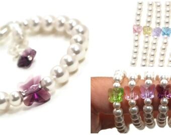 Baby Bracelet Butterfly Bracelet Little Girl Bracelets Pearl Baby Bracelet Baby Shower Gifts Baby Girl Gifts FREE Gift Box Baby Shower Gift