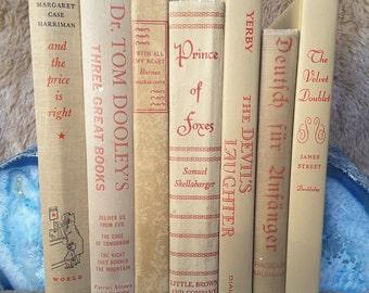 Vintage Beige Book Decor