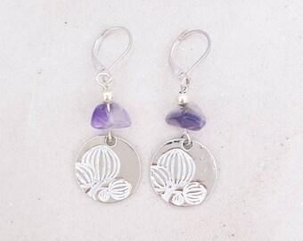 Lotus - Amethyst - Silver Flower Earrings