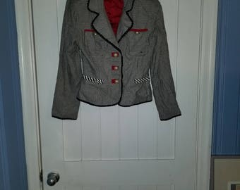 Chanel-inspired Houndstooth Blazer with Pearl buttons