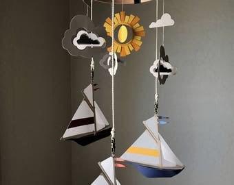 Nautical Sailboat, Sun & Clouds Mobile