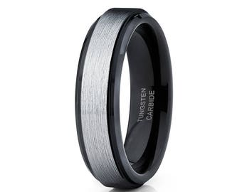 Black Tungsten Wedding Band Silver Tungsten Ring Men & Women Black Tungsten Wedding Ring Brush Tungsten Ring Comfort Fit