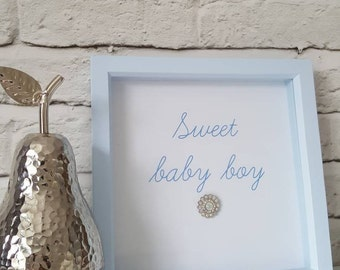 Gorgeous box frame with sparkly crystal embellishment. Nursery decor - perfect for a baby shower, new baby, christening gift.