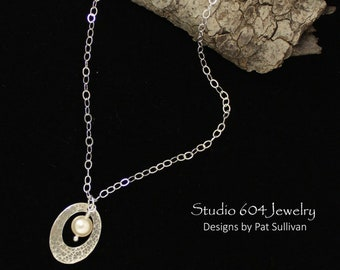 Silver Chain with Hammered Pendant - N811