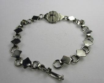 Vintage Silver Cross Bracelet,1950s Cross Bracelet w/ Silver Diamond Shapes & Rhinestones, Christian Religious Link Bracelet, Faith Bracelet