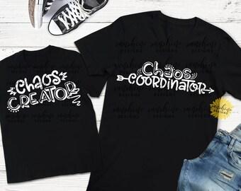 Chaos Coordinator svg, Chaos Creator svg, Mommy & Me Bundle SVG, funny svg, boys svg, girls svg, mom shirt svg, kids svg, tshirt design SVG