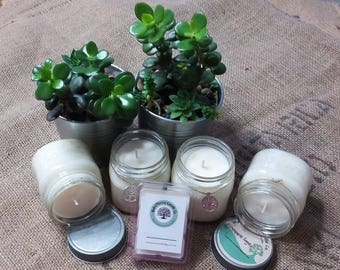 Hand poured soy wax candles and wax melts-made with love