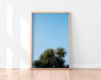 Tropical Printable Art, Botanical Print, Tropical Art Print, Blue Sky Wall Art, Green Leaves Tropical Printable Digital Download Green