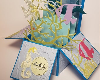 Handcrafted Under The Sea Birthday Card, Blue, Seahorses, fish, Birthday Box