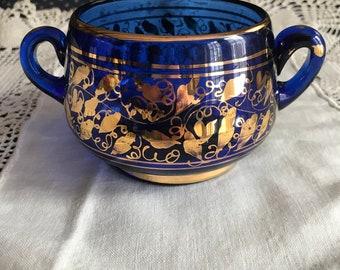 Vintage Czech or Bohemian Cobalt Gilt Open Sugar Bowl, Candy Dish