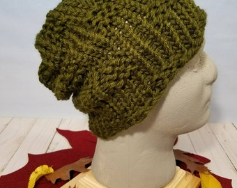 Hand Knit Hat, Beanie, Slouchy Hat