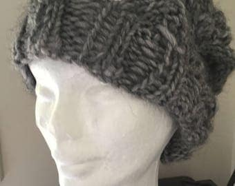 Handmade Lacy Slouch Knit Beanie In Rainy Day