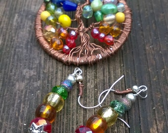 Tree of life chakra colors pendant and earrings