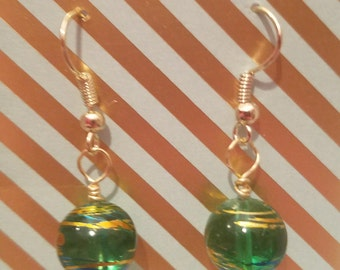 Green, blue, and gold bead drop earrings