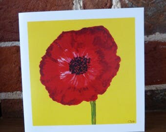 Red Poppy on yellow - greeting card