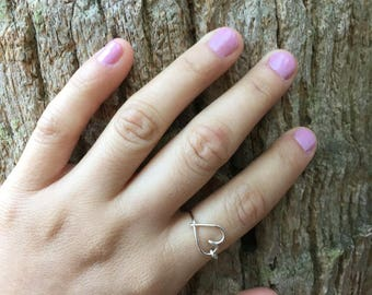 Silver heart wire wrapped ring