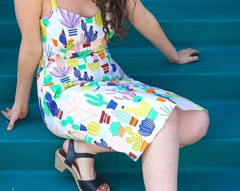 Cactus Print Cotton Sundress with Pockets and Built-In Bra