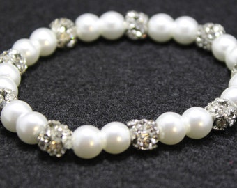 White and Silver Pearl Beaded Bracelet