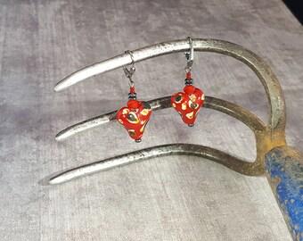 Lamp Worked, Puffed Heart Earrings