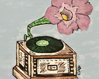 Floral Record Player - Acrylic Painting