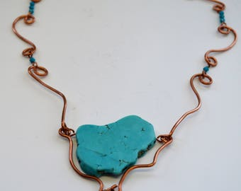 Turquoise Stone in Copper Wire Necklace -The Sea and Me